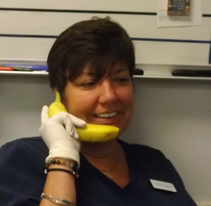 Vickie Byard, CVT, VTS (D) on banana phone